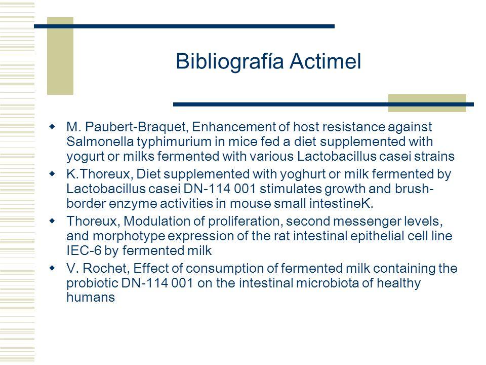 Bibliografía Actimel M. Paubert-Braquet, Enhancement of host resistance against Salmonella typhimurium in mice fed a diet supplemented with yogurt or