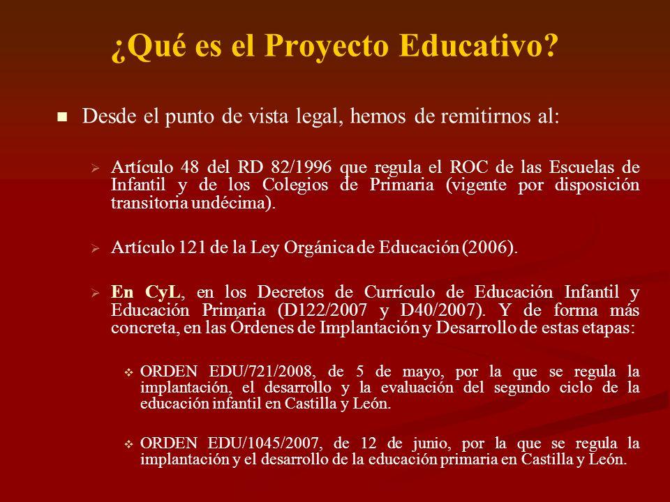 ¿Qué es el Proyecto Educativo? Desde el punto de vista legal, hemos de remitirnos al: Artículo 48 del RD 82/1996 que regula el ROC de las Escuelas de