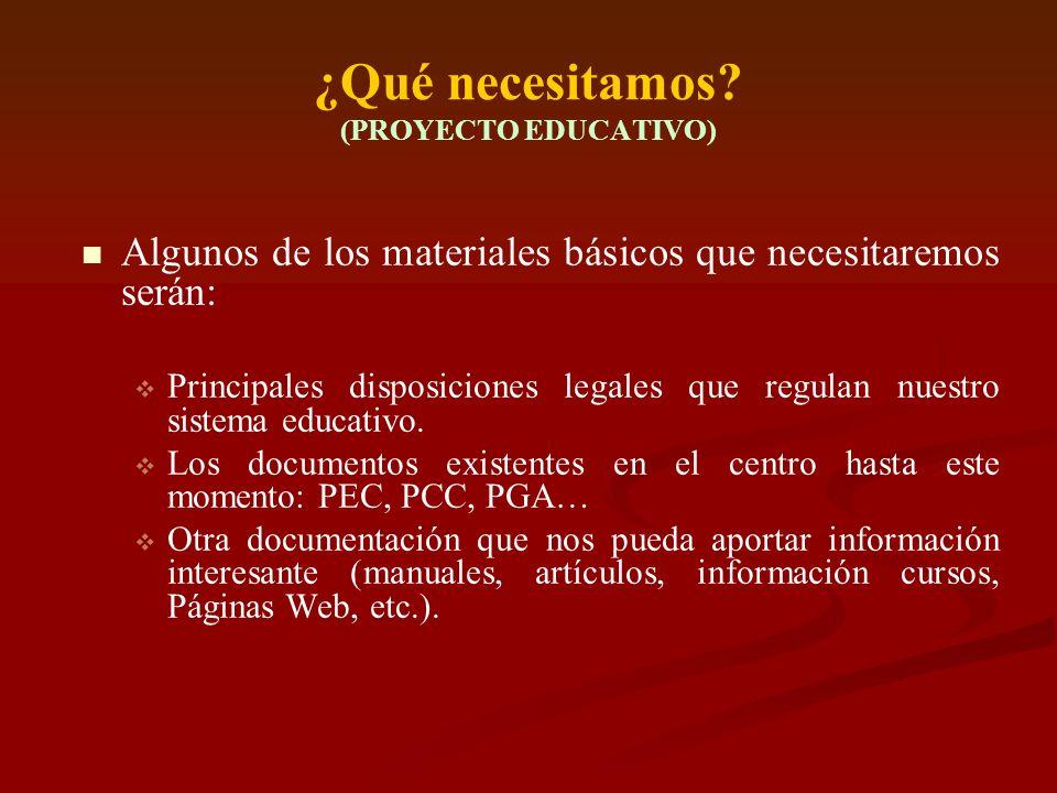 ¿Qué necesitamos? (PROYECTO EDUCATIVO) Algunos de los materiales básicos que necesitaremos serán: Principales disposiciones legales que regulan nuestr