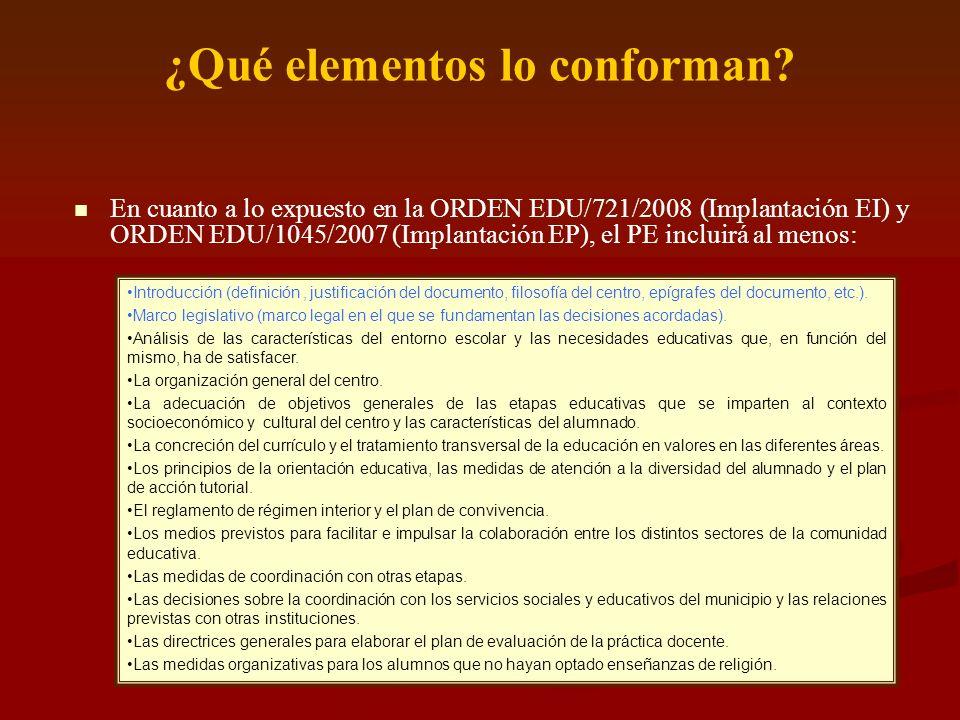 ¿Qué elementos lo conforman? En cuanto a lo expuesto en la ORDEN EDU/721/2008 (Implantación EI) y ORDEN EDU/1045/2007 (Implantación EP), el PE incluir