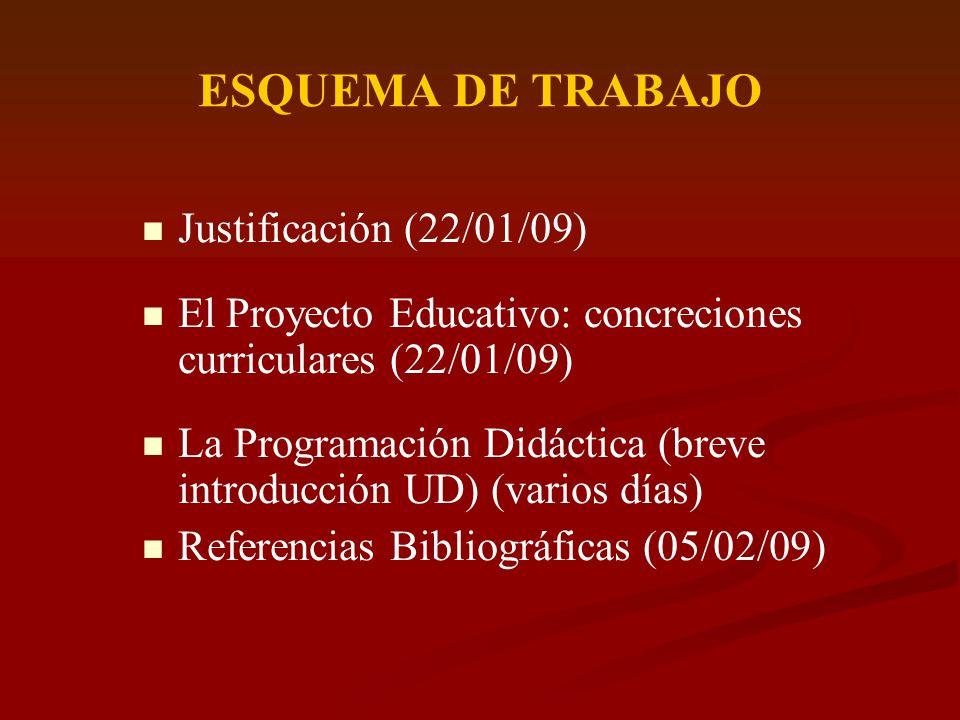 ESQUEMA DE TRABAJO Justificación (22/01/09) El Proyecto Educativo: concreciones curriculares (22/01/09) La Programación Didáctica (breve introducción