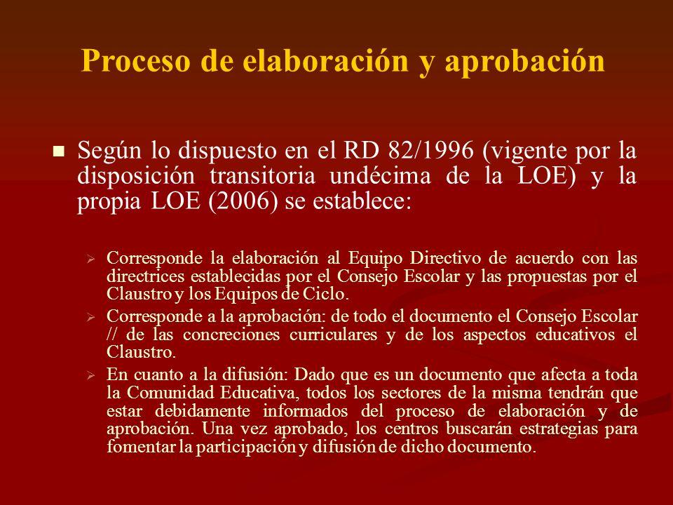 Proceso de elaboración y aprobación Según lo dispuesto en el RD 82/1996 (vigente por la disposición transitoria undécima de la LOE) y la propia LOE (2