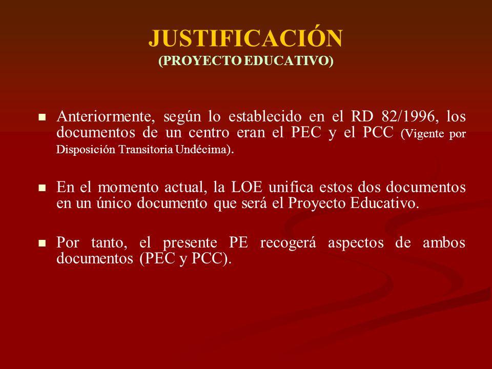 JUSTIFICACIÓN (PROYECTO EDUCATIVO) Anteriormente, según lo establecido en el RD 82/1996, los documentos de un centro eran el PEC y el PCC (Vigente por