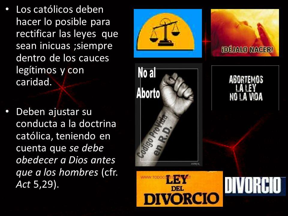 Los católicos deben hacer lo posible para rectificar las leyes que sean inicuas ;siempre dentro de los cauces legítimos y con caridad. Deben ajustar s