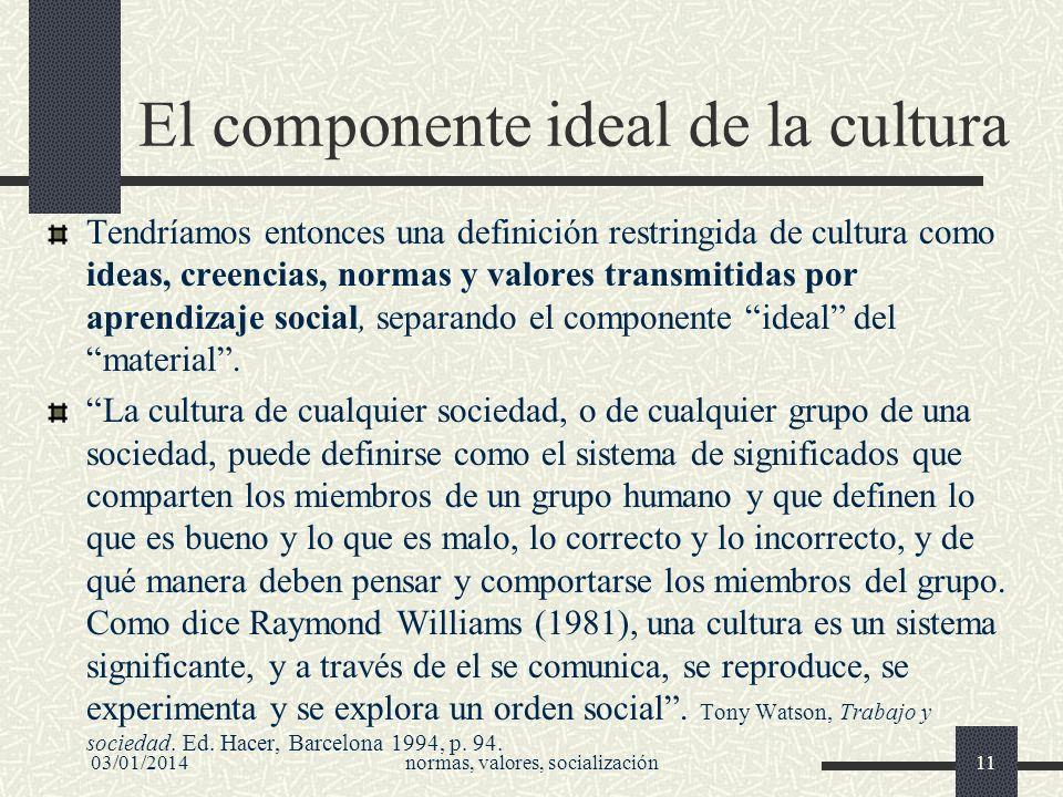03/01/2014normas, valores, socialización11 El componente ideal de la cultura Tendríamos entonces una definición restringida de cultura como ideas, cre