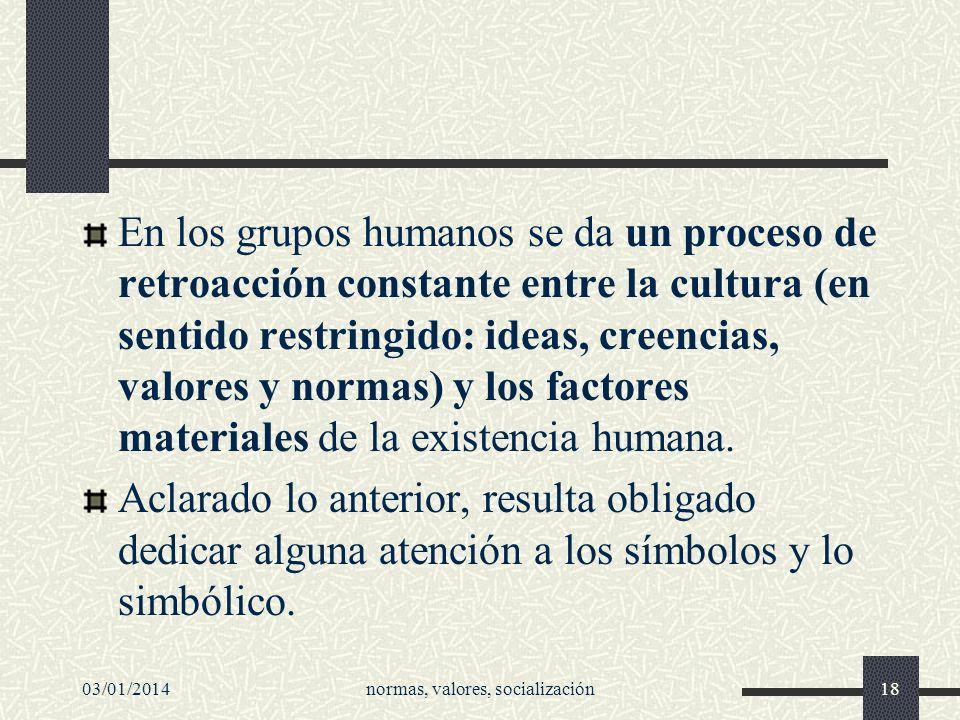 03/01/2014normas, valores, socialización18 En los grupos humanos se da un proceso de retroacción constante entre la cultura (en sentido restringido: i