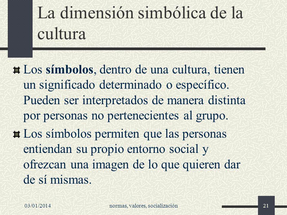 03/01/2014normas, valores, socialización21 La dimensión simbólica de la cultura Los símbolos, dentro de una cultura, tienen un significado determinado