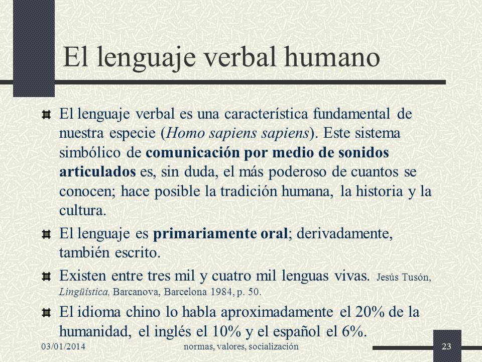 03/01/2014normas, valores, socialización23 El lenguaje verbal humano El lenguaje verbal es una característica fundamental de nuestra especie (Homo sap