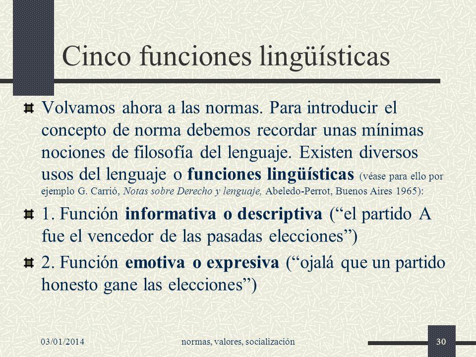 Cinco funciones lingüísticas Volvamos ahora a las normas. Para introducir el concepto de norma debemos recordar unas mínimas nociones de filosofía del