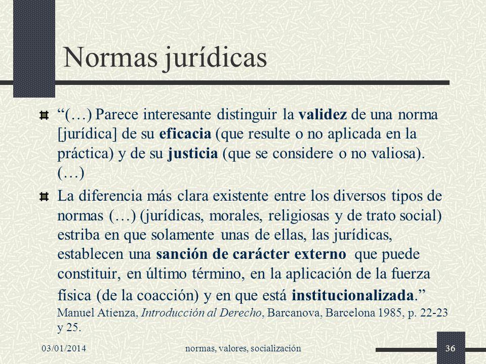 Normas jurídicas (…) Parece interesante distinguir la validez de una norma [jurídica] de su eficacia (que resulte o no aplicada en la práctica) y de s