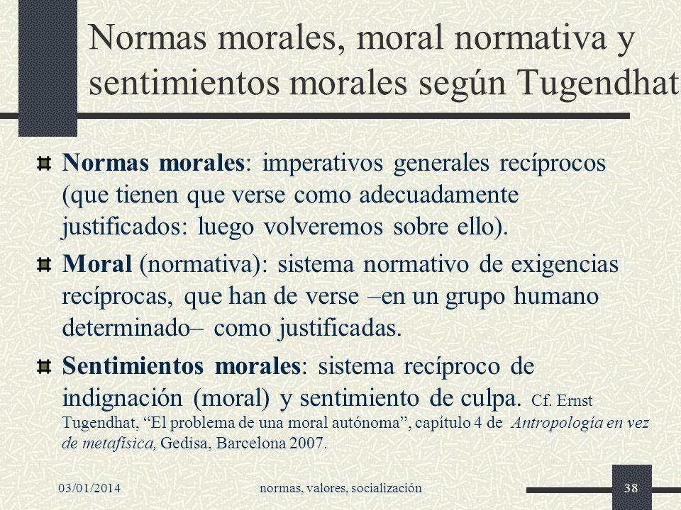 Normas morales, moral normativa y sentimientos morales según Tugendhat Normas morales: imperativos generales recíprocos (que tienen que verse como ade