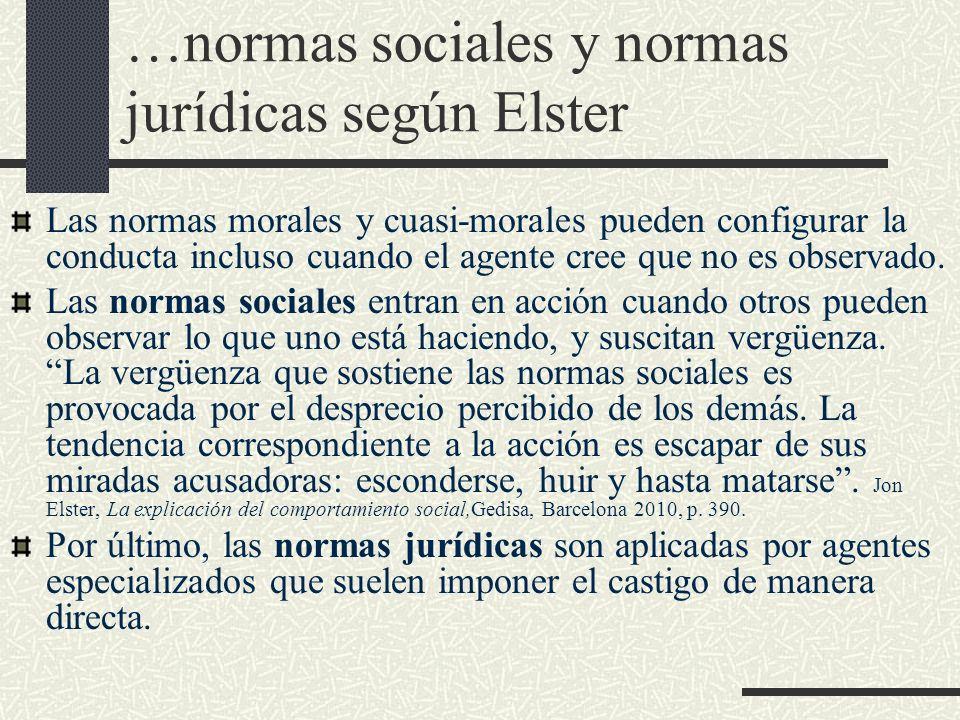 …normas sociales y normas jurídicas según Elster Las normas morales y cuasi-morales pueden configurar la conducta incluso cuando el agente cree que no