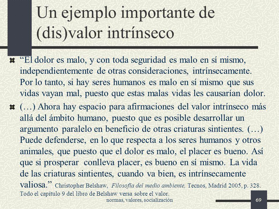 Un ejemplo importante de (dis)valor intrínseco El dolor es malo, y con toda seguridad es malo en sí mismo, independientemente de otras consideraciones