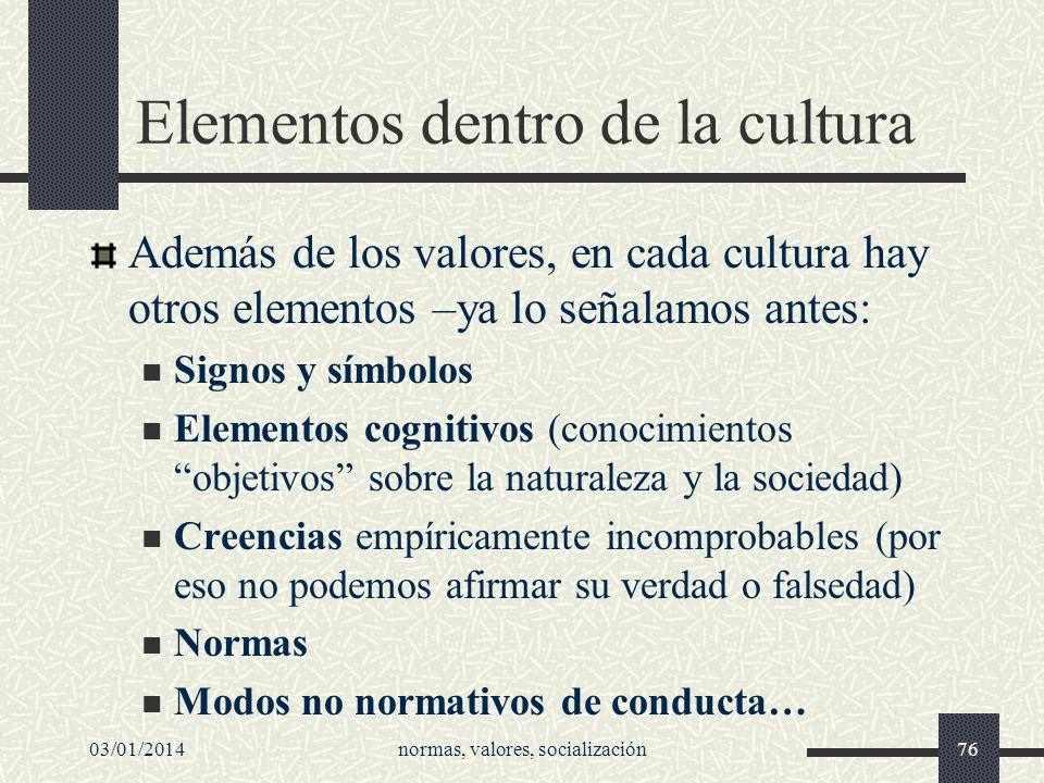 03/01/2014normas, valores, socialización76 Elementos dentro de la cultura Además de los valores, en cada cultura hay otros elementos –ya lo señalamos