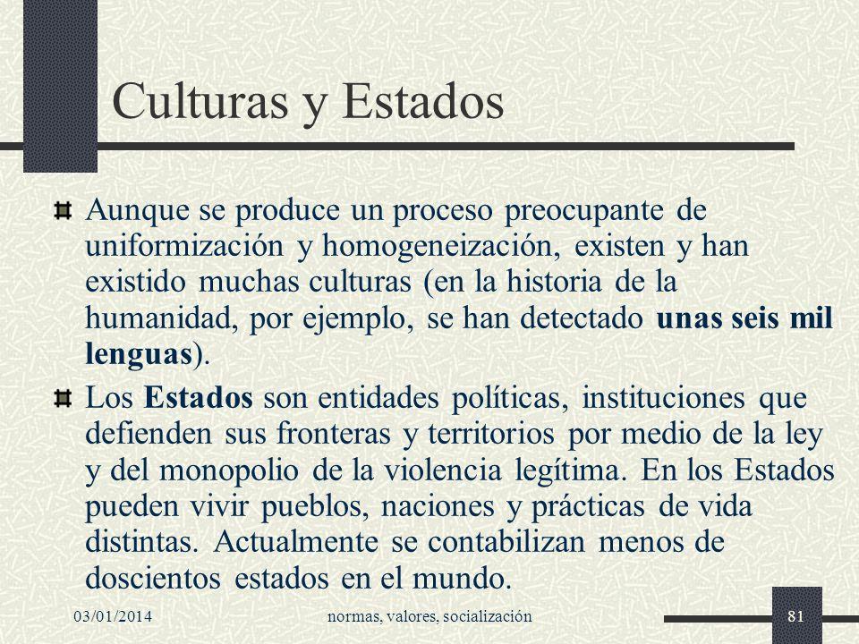 03/01/2014normas, valores, socialización81 Culturas y Estados Aunque se produce un proceso preocupante de uniformización y homogeneización, existen y