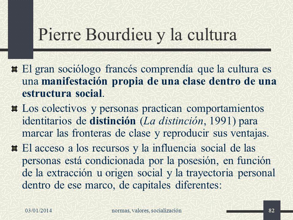 03/01/2014normas, valores, socialización82 Pierre Bourdieu y la cultura El gran sociólogo francés comprendía que la cultura es una manifestación propi