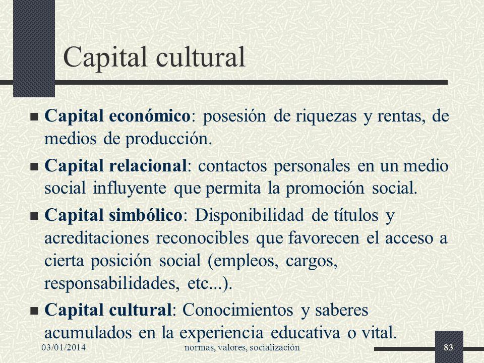 03/01/2014normas, valores, socialización83 Capital cultural Capital económico: posesión de riquezas y rentas, de medios de producción. Capital relacio