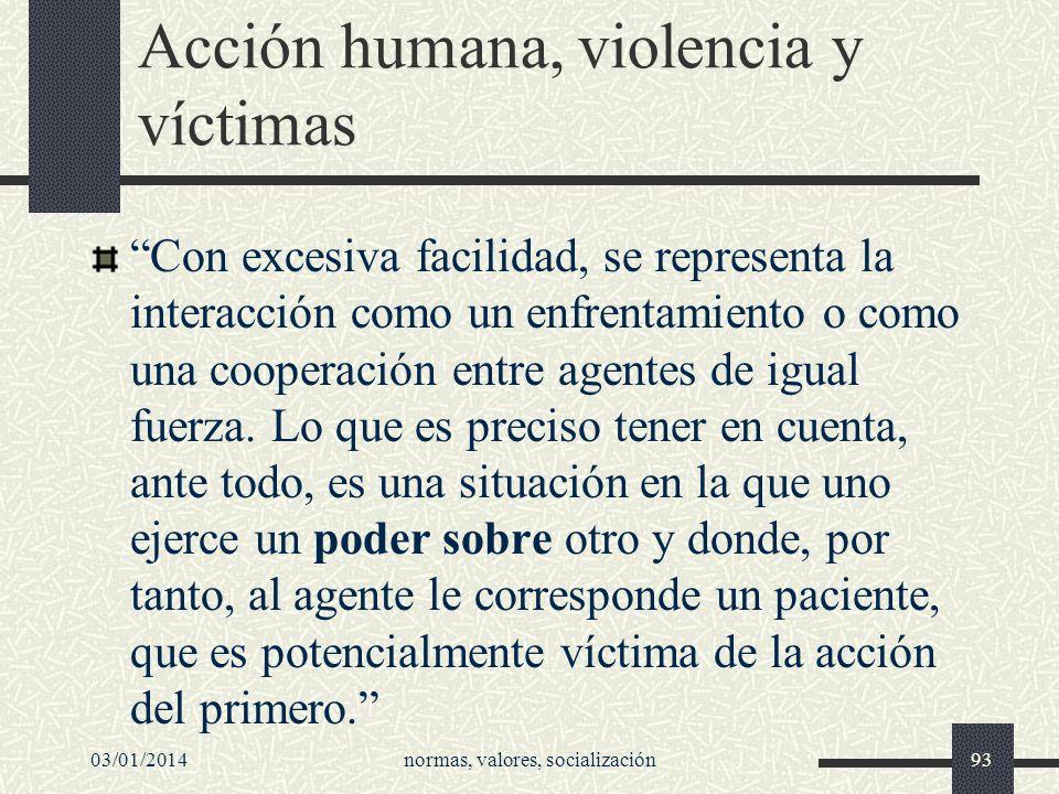 Acción humana, violencia y víctimas Con excesiva facilidad, se representa la interacción como un enfrentamiento o como una cooperación entre agentes d