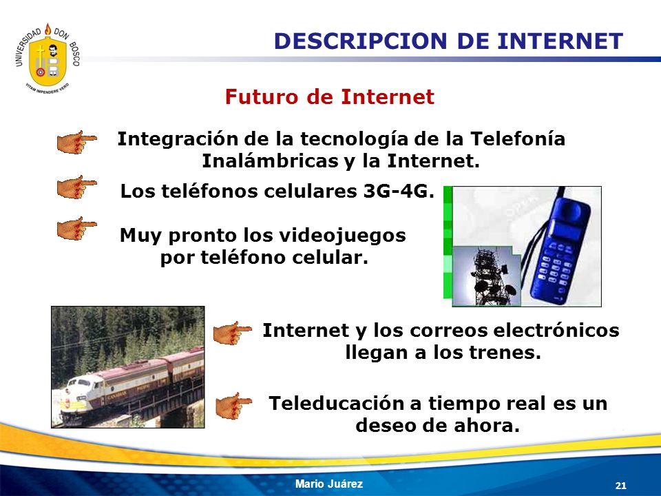 Mario Juárez Muy pronto los videojuegos por teléfono celular. Internet y los correos electrónicos llegan a los trenes. Integración de la tecnología de