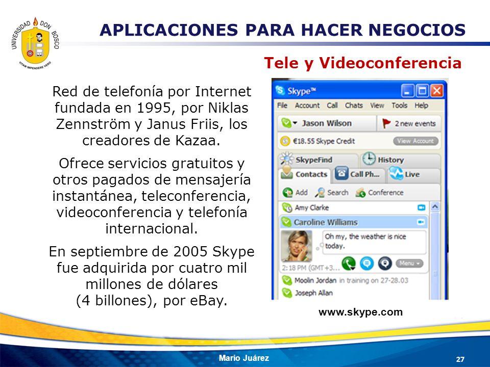 Mario Juárez Red de telefonía por Internet fundada en 1995, por Niklas Zennström y Janus Friis, los creadores de Kazaa. Ofrece servicios gratuitos y o