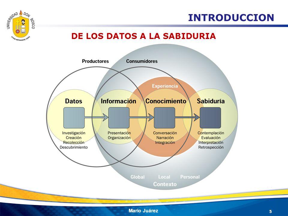 Mario Juárez 5 DE LOS DATOS A LA SABIDURIA INTRODUCCION