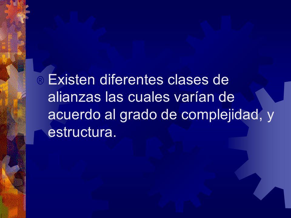 ® Existen diferentes clases de alianzas las cuales varían de acuerdo al grado de complejidad, y estructura.