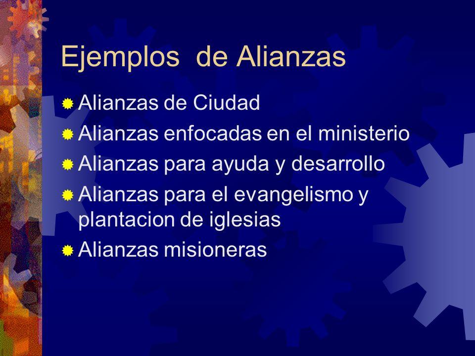 Ejemplos de Alianzas Alianzas de Ciudad Alianzas enfocadas en el ministerio Alianzas para ayuda y desarrollo Alianzas para el evangelismo y plantacion