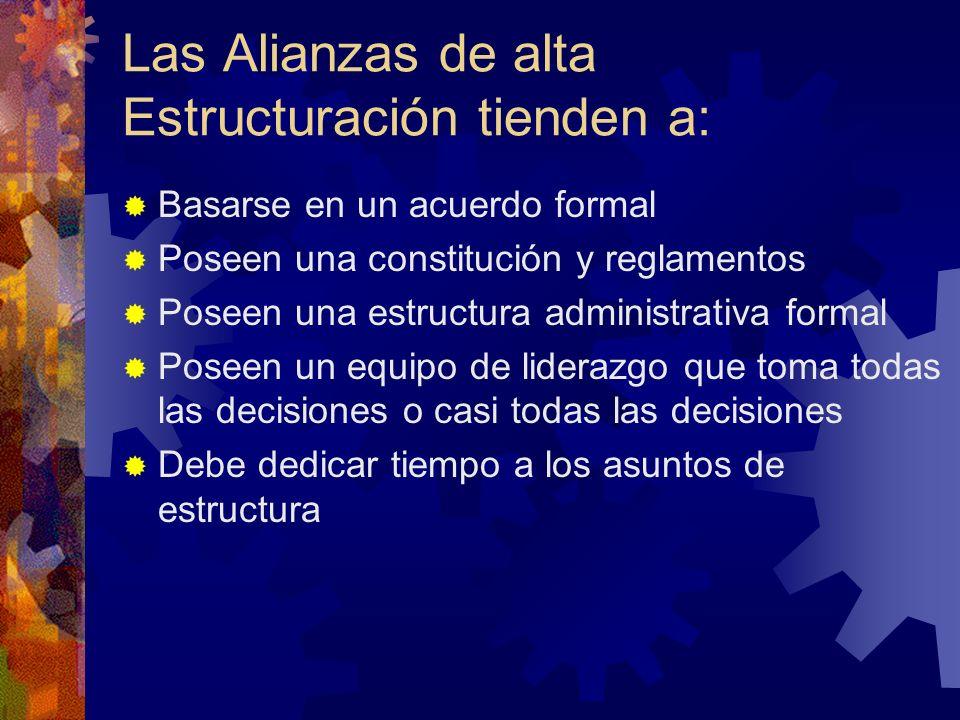 Las Alianzas de alta Estructuración tienden a: Basarse en un acuerdo formal Poseen una constitución y reglamentos Poseen una estructura administrativa