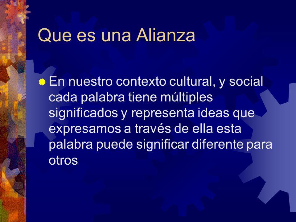 Que es una Alianza En nuestro contexto cultural, y social cada palabra tiene múltiples significados y representa ideas que expresamos a través de ella