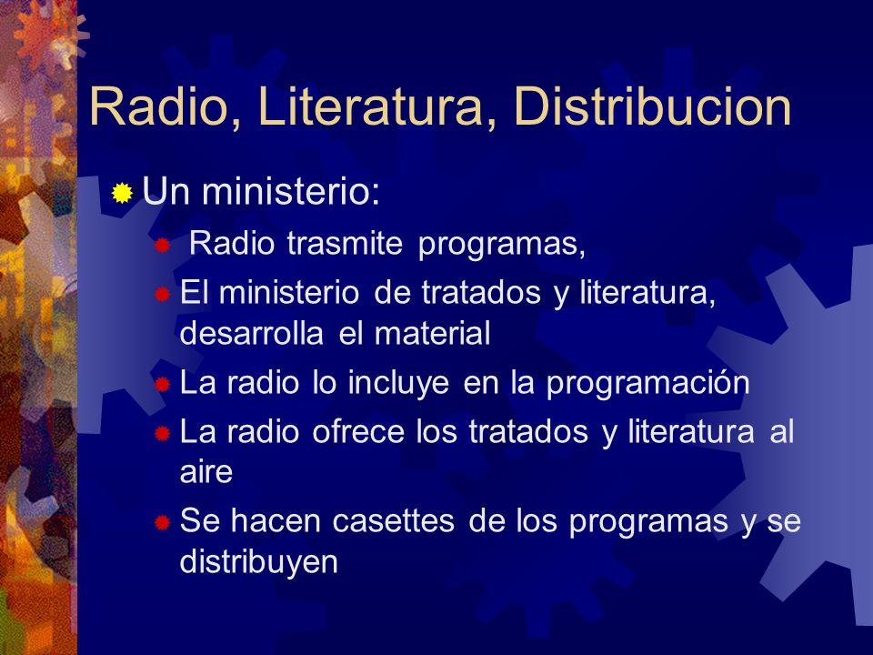Un ministerio: Radio trasmite programas, El ministerio de tratados y literatura, desarrolla el material La radio lo incluye en la programación La radi