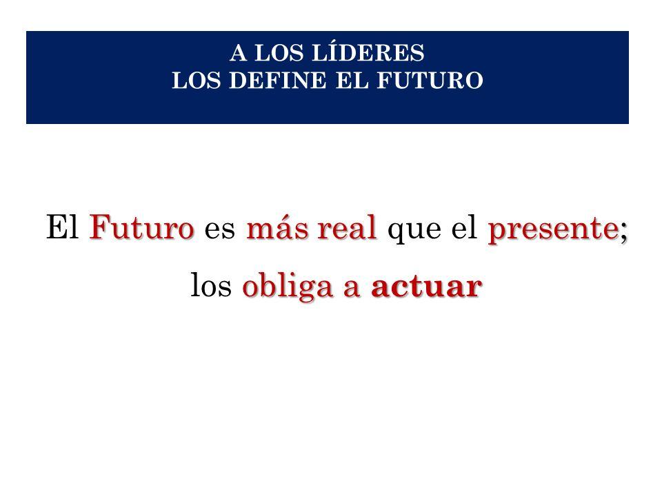 A LOS LÍDERES LOS DEFINE EL FUTURO Futuromás real presente; El Futuro es más real que el presente; obliga a actuar los obliga a actuar 22