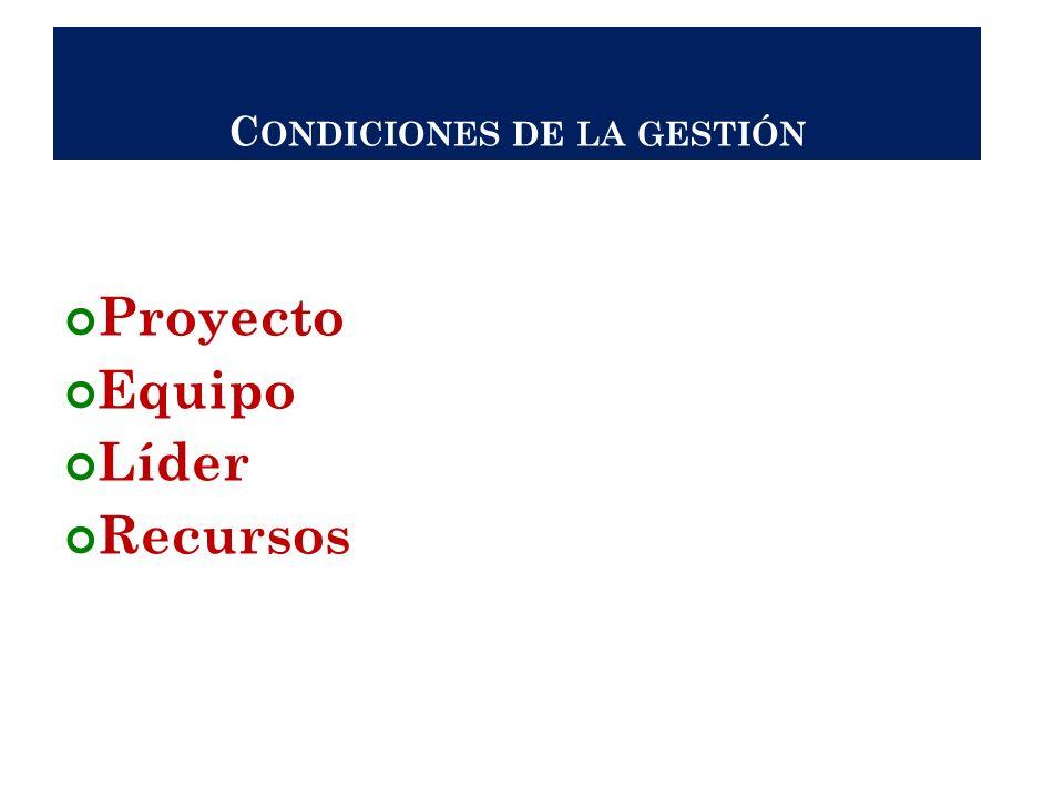C ONDICIONES DE LA GESTIÓN Proyecto Equipo Líder Recursos 33
