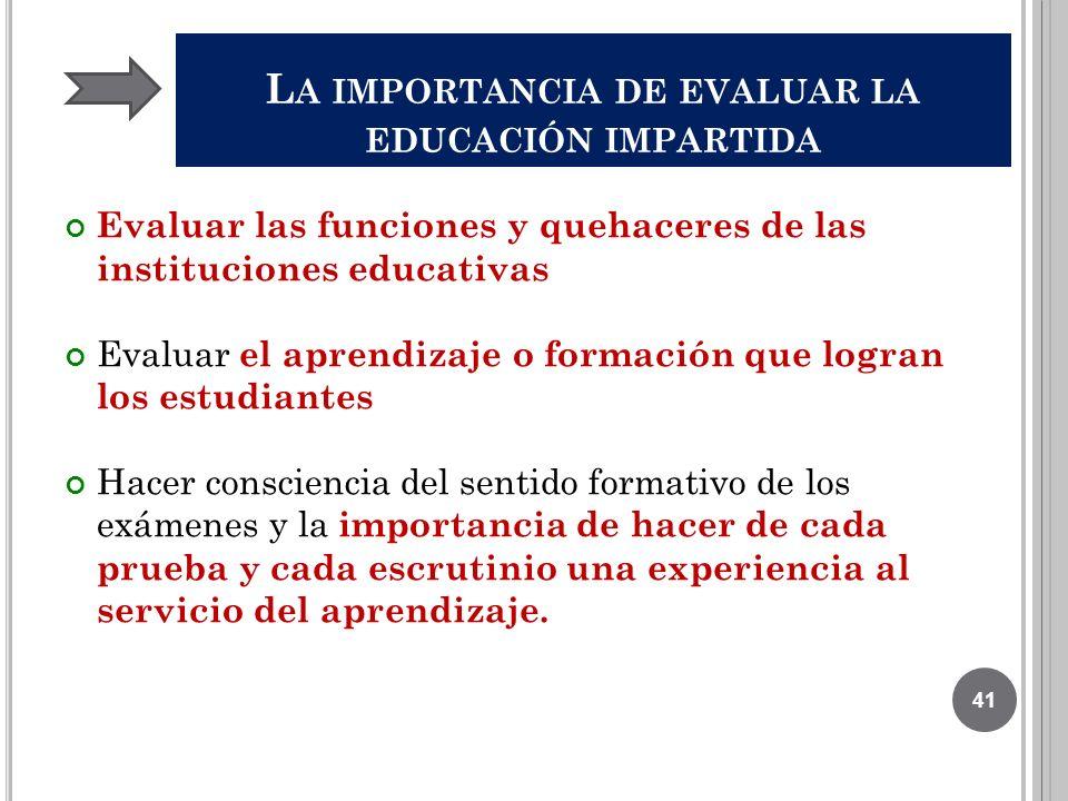 L A IMPORTANCIA DE EVALUAR LA EDUCACIÓN IMPARTIDA Evaluar las funciones y quehaceres de las instituciones educativas Evaluar el aprendizaje o formació