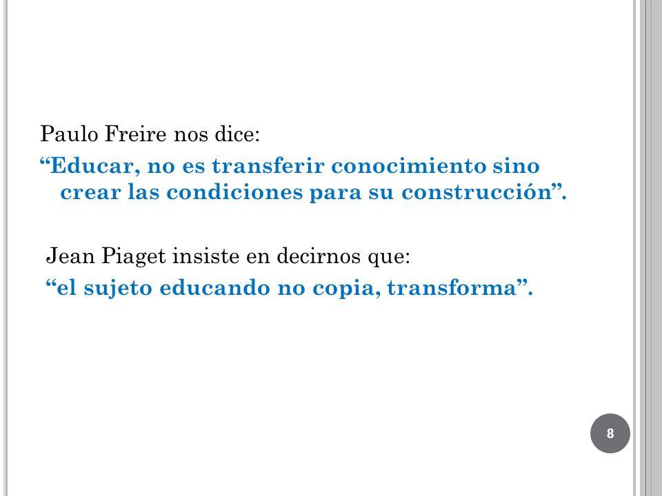 Paulo Freire nos dice: Educar, no es transferir conocimiento sino crear las condiciones para su construcción. Jean Piaget insiste en decirnos que: el
