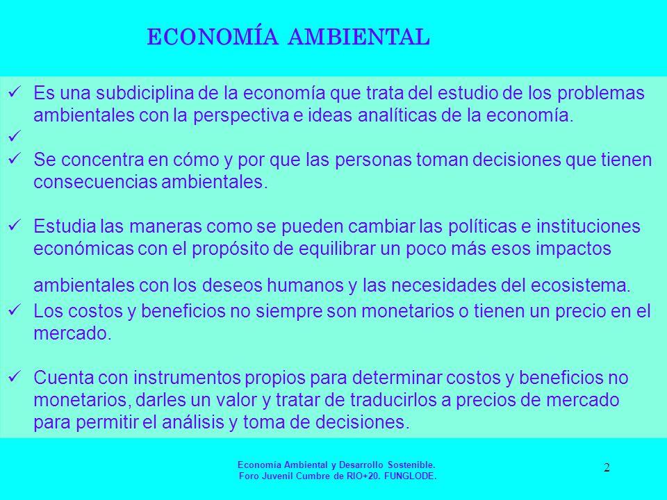 La Economía ambiental Cuenta con instrumentos propios para determinar costos y beneficios no monetarios, darles un valor y tratar de traducirlos a precios de mercado para permitir el análisis y toma de decisiones.