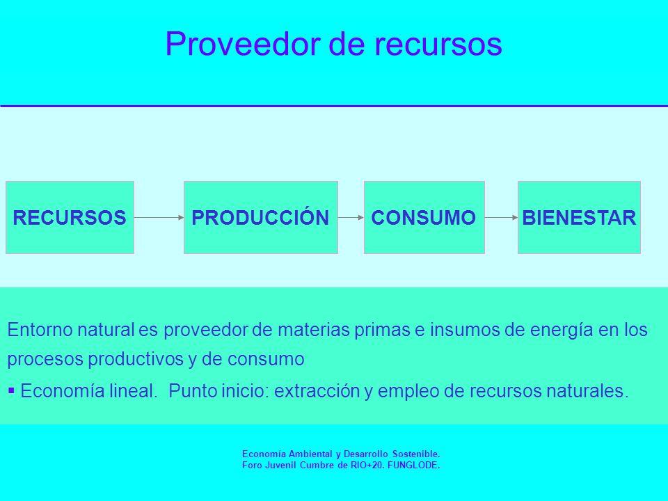 Receptor de desechos RECURSOSPRODUCCIÓNCONSUMOBIENESTAR RECICLAJE RESIDUOS MEDIO AMBIENTE COMO RECEPTOR DE RESIDUOS Economía Ambiental y Desarrollo Sostenible.