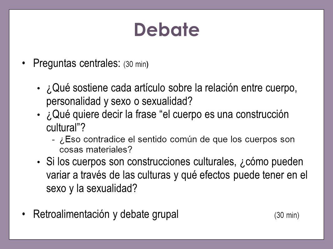 Debate Preguntas centrales: (30 min ) ¿Qué sostiene cada artículo sobre la relación entre cuerpo, personalidad y sexo o sexualidad? ¿Qué quiere decir