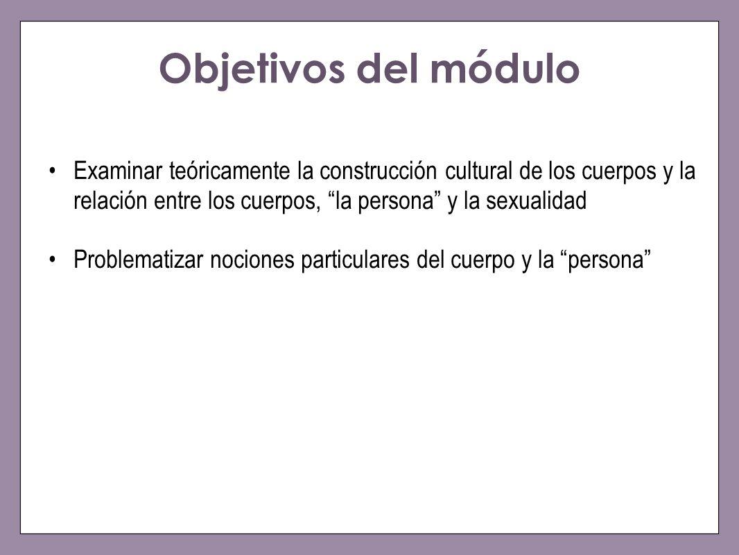 Objetivos del módulo Examinar teóricamente la construcción cultural de los cuerpos y la relación entre los cuerpos, la persona y la sexualidad Problem