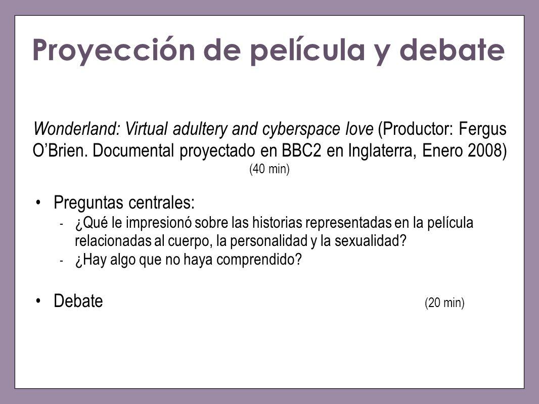 Proyección de película y debate Wonderland: Virtual adultery and cyberspace love (Productor: Fergus OBrien. Documental proyectado en BBC2 en Inglaterr