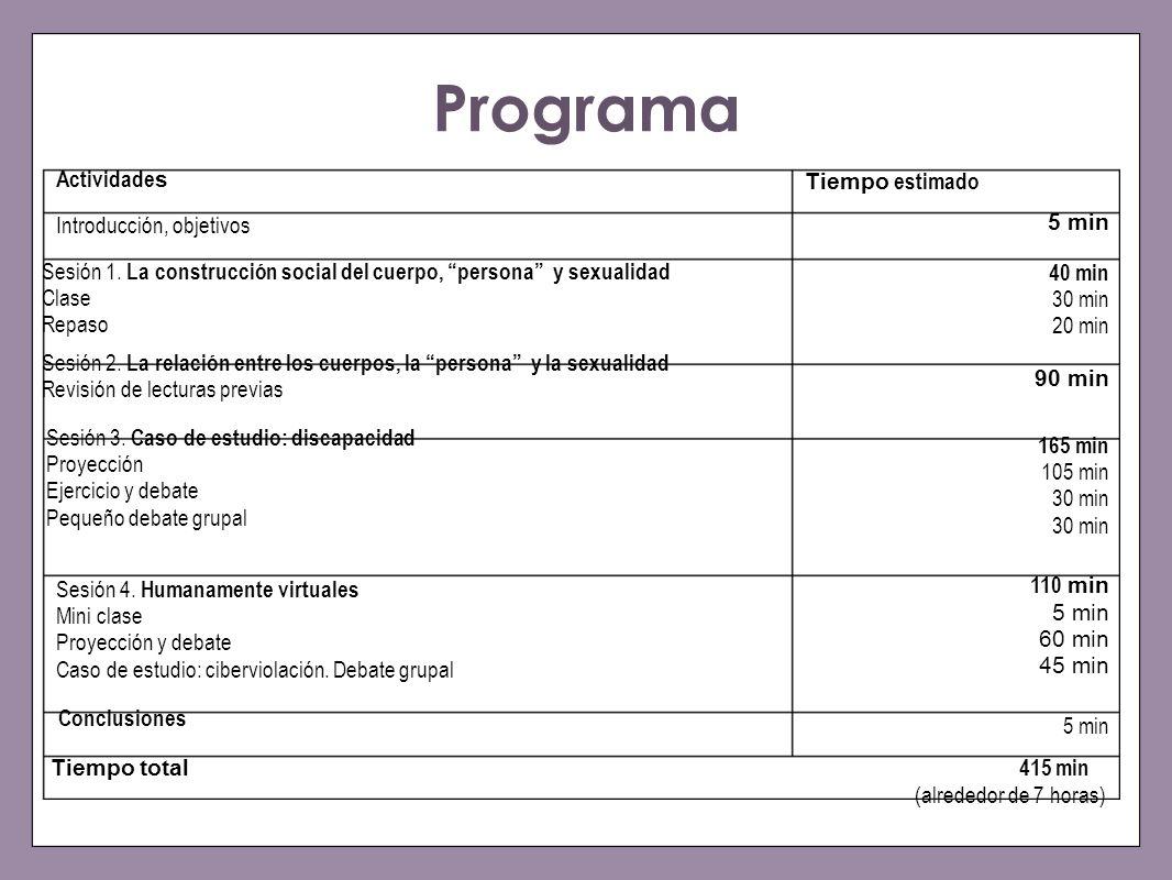 Programa 40 min 30 min 20 min Sesión 1. La construcción social del cuerpo, persona y sexualidad Clase Repaso 90 min Sesión 2. La relación entre los cu