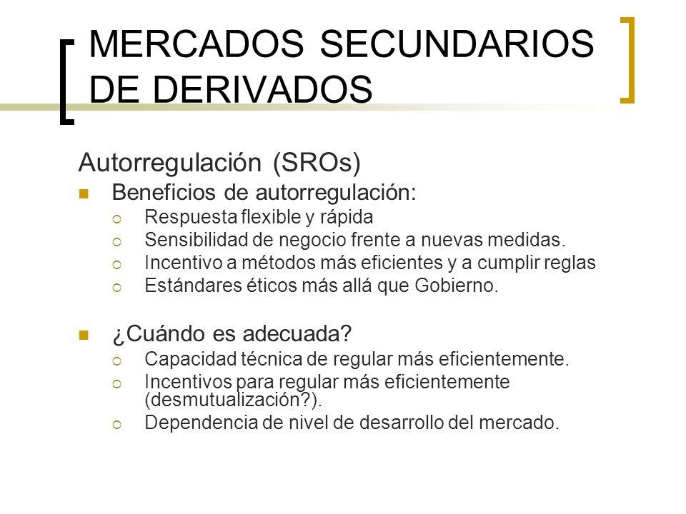 MERCADOS SECUNDARIOS DE DERIVADOS Autorregulación (SROs) Beneficios de autorregulación: Respuesta flexible y rápida Sensibilidad de negocio frente a n