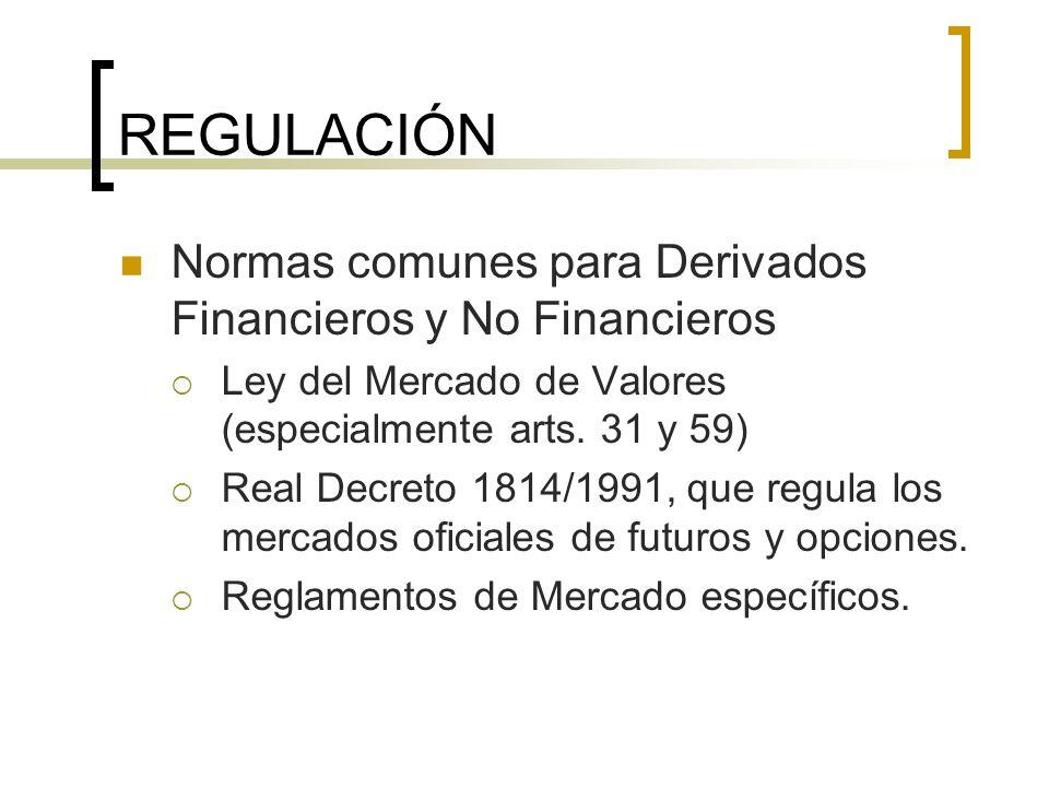 REGULACIÓN Normas comunes para Derivados Financieros y No Financieros Ley del Mercado de Valores (especialmente arts. 31 y 59) Real Decreto 1814/1991,