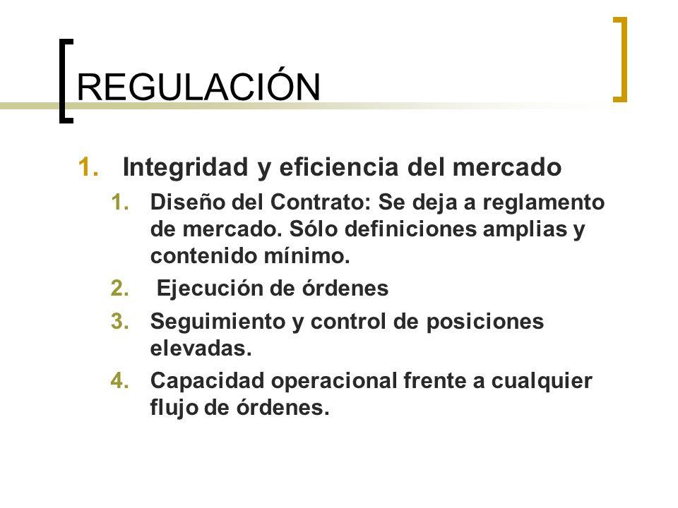 REGULACIÓN 1.Integridad y eficiencia del mercado 1.Diseño del Contrato: Se deja a reglamento de mercado. Sólo definiciones amplias y contenido mínimo.
