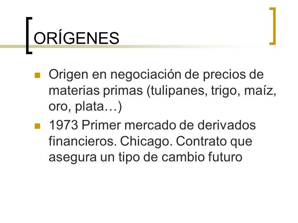 ORÍGENES Origen en negociación de precios de materias primas (tulipanes, trigo, maíz, oro, plata…) 1973 Primer mercado de derivados financieros. Chica