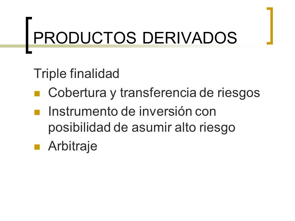 PRODUCTOS DERIVADOS Triple finalidad Cobertura y transferencia de riesgos Instrumento de inversión con posibilidad de asumir alto riesgo Arbitraje