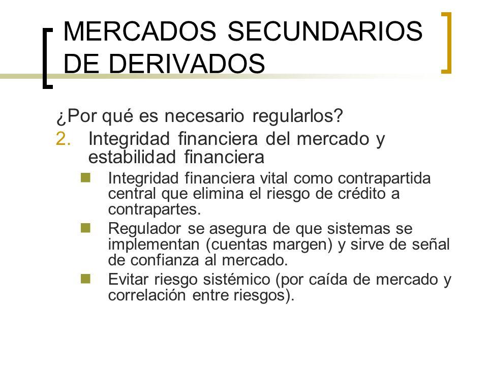 MERCADOS SECUNDARIOS DE DERIVADOS ¿Por qué es necesario regularlos? 2.Integridad financiera del mercado y estabilidad financiera Integridad financiera