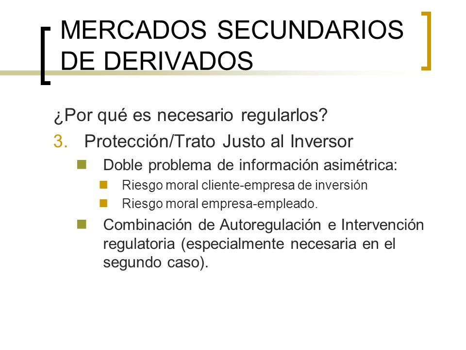 MERCADOS SECUNDARIOS DE DERIVADOS ¿Por qué es necesario regularlos? 3.Protección/Trato Justo al Inversor Doble problema de información asimétrica: Rie