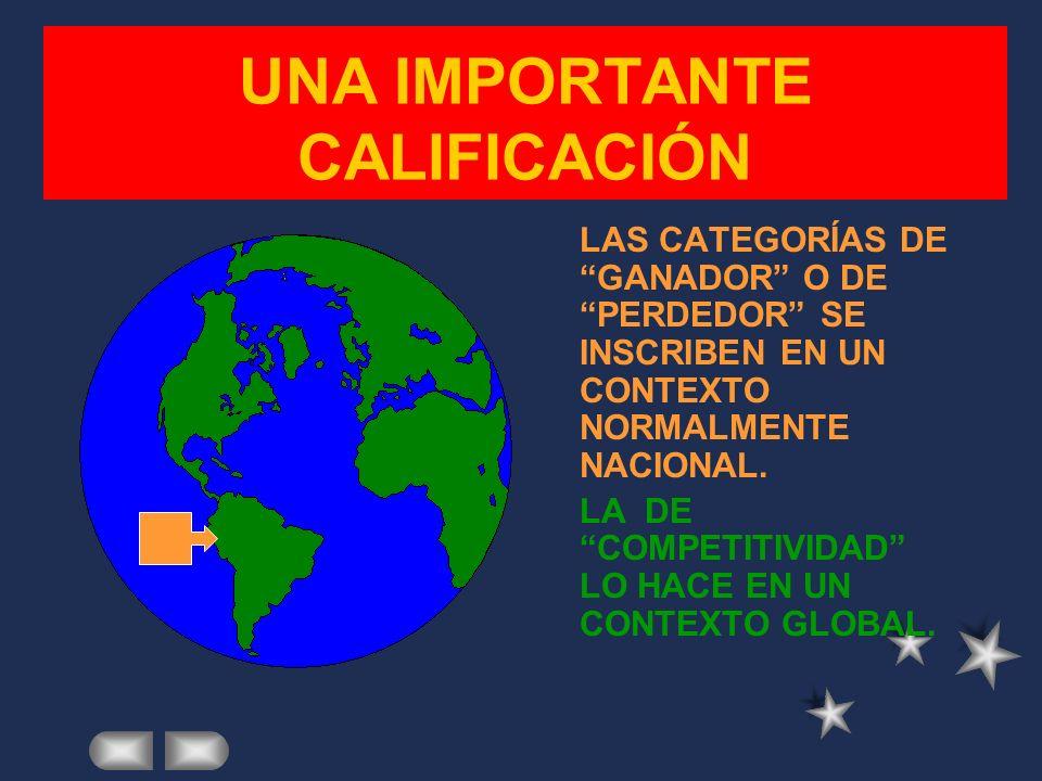 UNA IMPORTANTE CALIFICACIÓN LAS CATEGORÍAS DE GANADOR O DE PERDEDOR SE INSCRIBEN EN UN CONTEXTO NORMALMENTE NACIONAL.