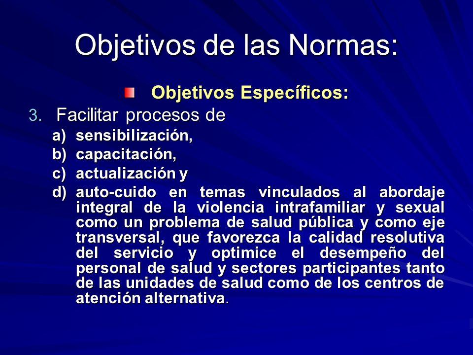 Objetivos de las Normas: Objetivos Específicos: 3. Facilitar procesos de a)sensibilización, b)capacitación, c)actualización y d)auto-cuido en temas vi