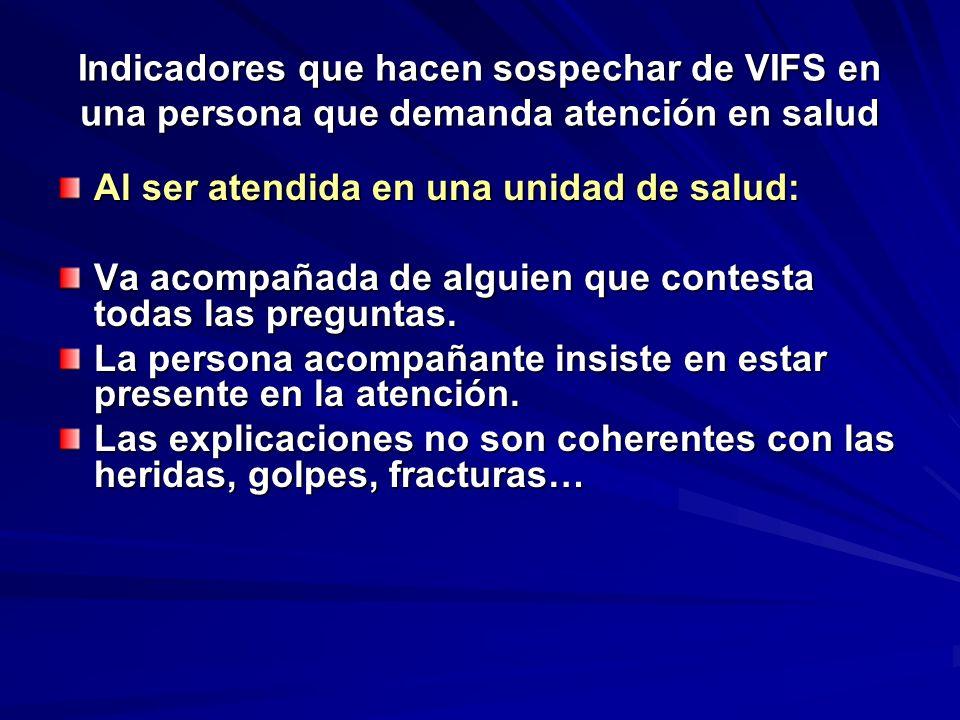 Indicadores que hacen sospechar de VIFS en una persona que demanda atención en salud Al ser atendida en una unidad de salud: Va acompañada de alguien